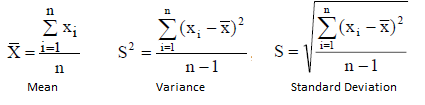 equations for mean, variance and standard deviation